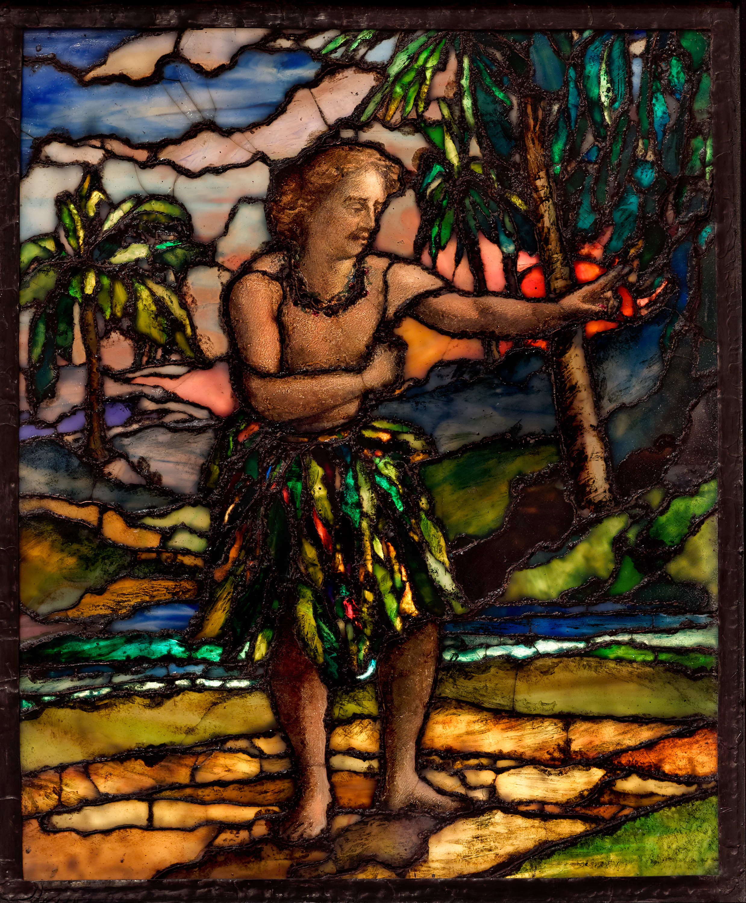 John La Farge, American, 1835–1910: Samoan Taupo Dancing the Siva, 1909.  Cloisonné stained glass. Gift of Oliver LaFarge Hamill (2017-233).