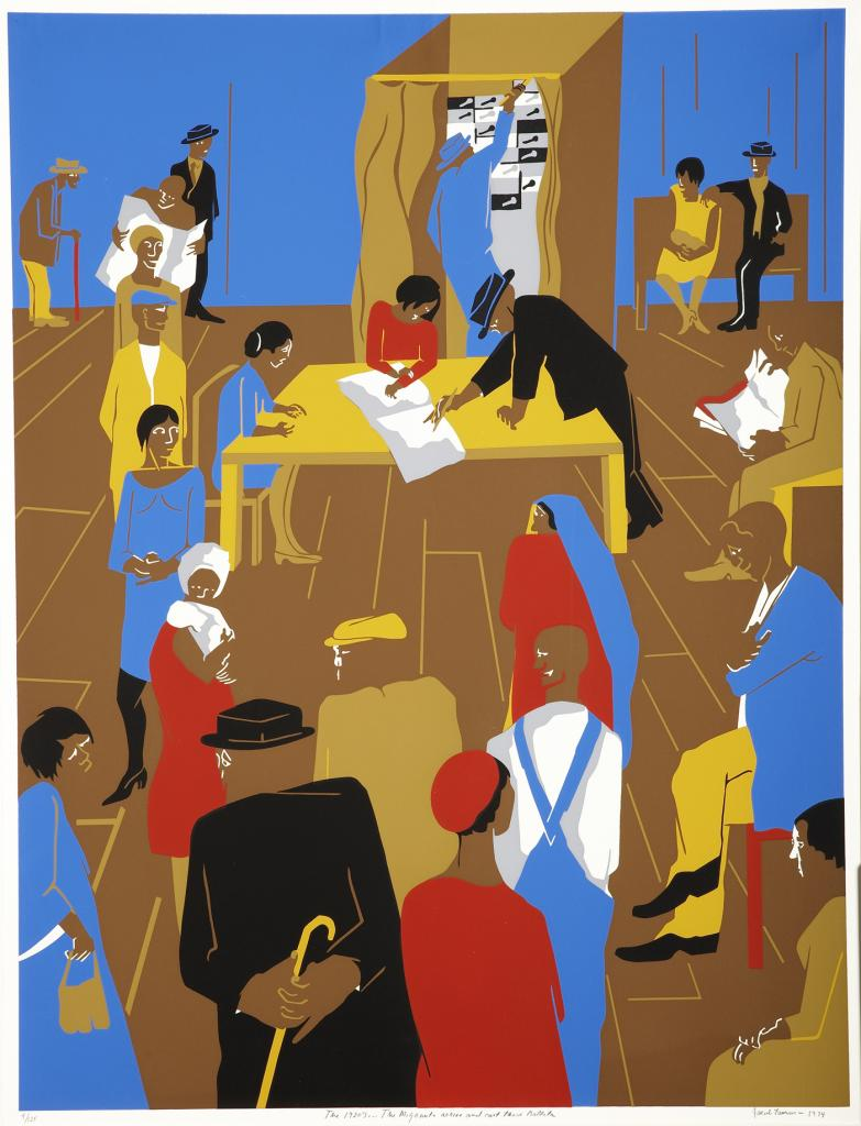 Jacob Lawrence. The 1920's...The Migrants Arrive and Cast Their Ballots, 1974. Serigraph. Gift of Lorillard, a Division of Loews Theatres, Inc. (x1976-286). © 2013 Artists Rights Society (ARS), New York