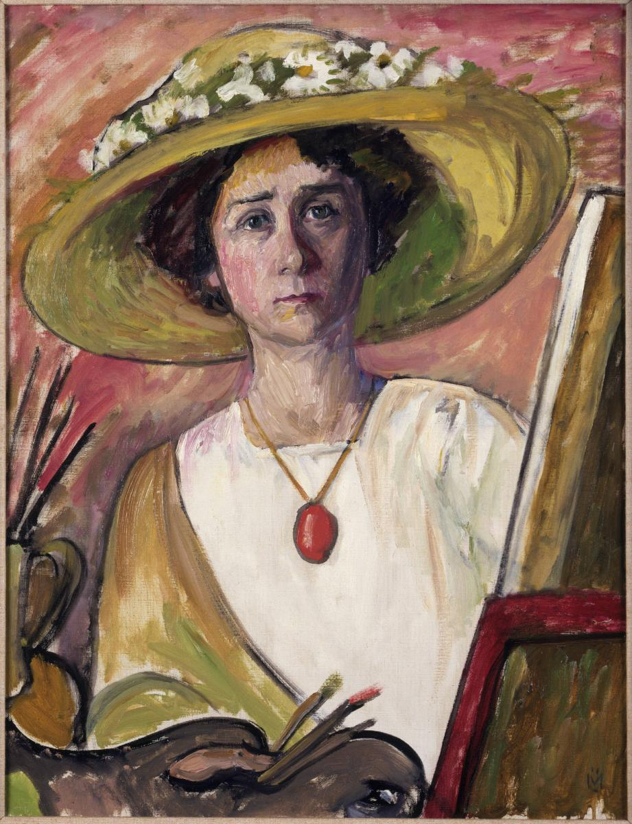 Gabriele Münter, German, 1877–1962: Self-Portrait in front of an easel, ca. 1908–09 (y1992-21). © 2012, Artist Rights Society (ARS), New York / VG Bild-Kunst / photo: Bruce M. White.