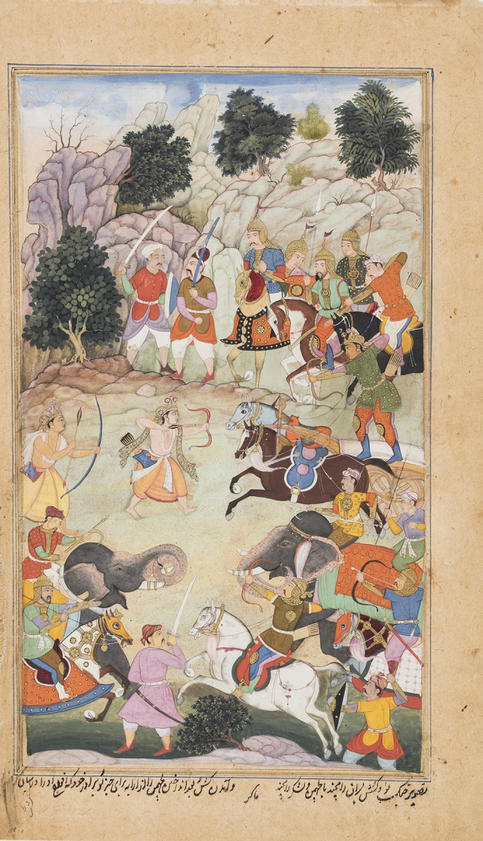 Makara, 16th-century Mughal painter, Lava and Kusha Battle Lakshmana and Rama's Army, folio from a Razmnama (Book of Wars), Northern India, 1598–99. Opaque watercolor on paper, 23.1 x 13.4 cm. San Diego Museum of Art, Edwin Binney 3rd Collection