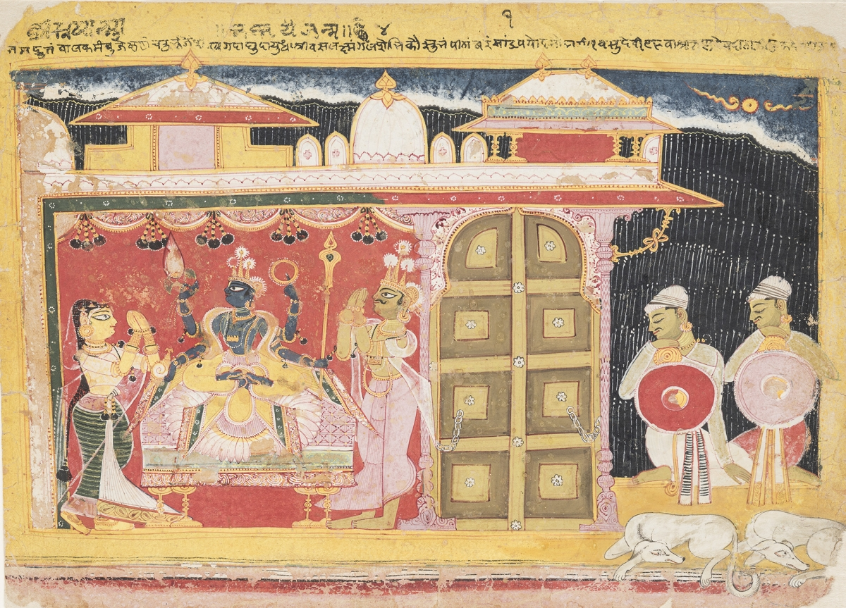 The Birth of Krishna, Amber, before 1560. Opaque watercolor and gold on paper, 19.1 x 26.5 cm. San Diego Museum of Art, Edwin Binney 3rd Collection