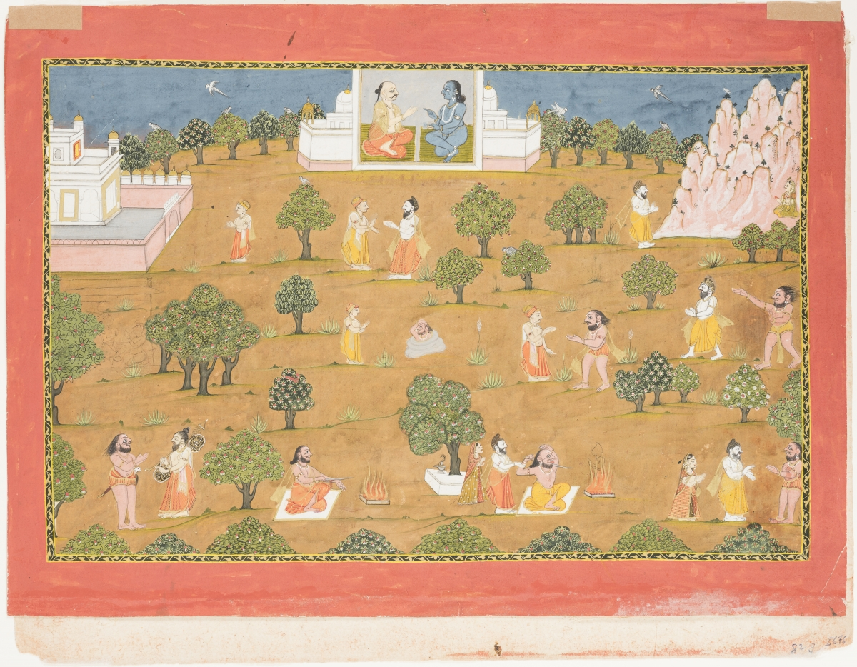 Vishnu Comes to Shiva's Aid, India, Datia, ca. 1800. Opaque watercolor and gold on paper, folio: 32 × 43.8 cm; painting: 25.2 × 39.1 cm. The San Diego Museum of Art, Edwin Binney 3rd Collection