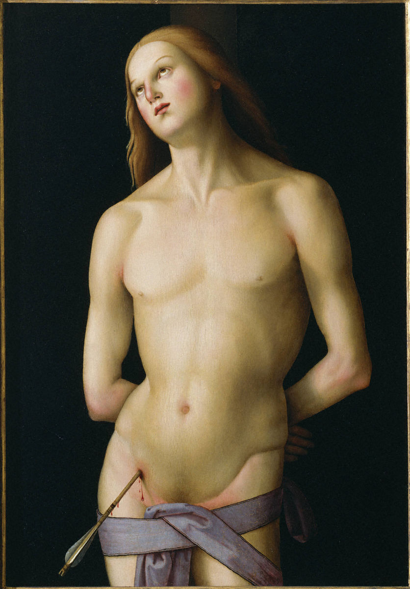 Master of the Greenville Tondo, Italian, active 1500–1510, formerly attributed to Perugino (Pietro di Cristoforo Vannucci), Italian, 1450–1523, Saint Sebastian, ca. 1500–1510. Oil on wood panel transferred to canvas on pressed-wood panel. Gift of the Samuel H. Kress Foundation to the New Jersey State Museum; transferred to the Princeton University Art Museum. Photo Bruce M. White.