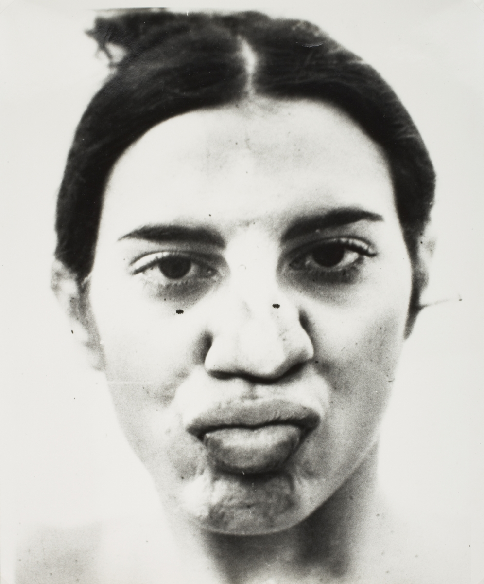 Ana Mendieta (American, born Cuba, 1948–1985), Two prints from Glass on Body Imprints–Face, 1972. Gelatin silver prints, 24.3 × 19.5 cm each. Museum purchase, Fowler McCormick, Class of 1921, Fund. © Estate of Ana Mendieta Collection, Courtesy Galerie LeLong, New York