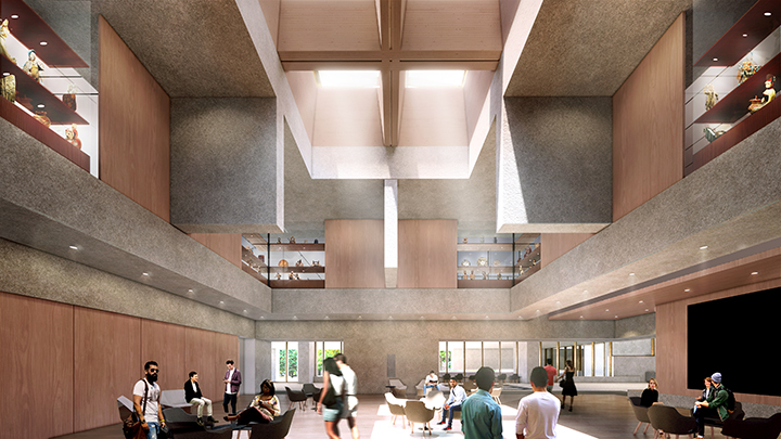 The double-height Grand Hall sits at the heart of the Museum complex and will function as a lecture hall and performance space that will host many of the Museum's larger events