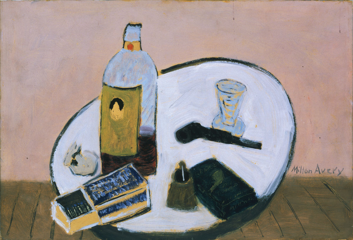 Milton Avery (American, 1885–1965), Pink Still Life, 1938. Oil on cardboard. The Phillips Collection, Washington, DC. Acquired 1943. © Milton Avery Trust/Artists Rights Society (ARS), New York