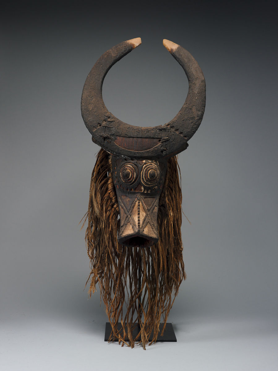Bwa artist, Burkina Faso, Mask, 20th century. Wood, raffia, and pigment, h. 67.3 cm. Princeton University Art Museum. Museum purchase, Fowler McCormick, Class of 1921, Fund Provenance: William Wright Gallery, New York, late 1970s. Michael Oliver, Inc., New York. Marian and Daniel Malcolm, Tenafly, New Jersey, from 1981