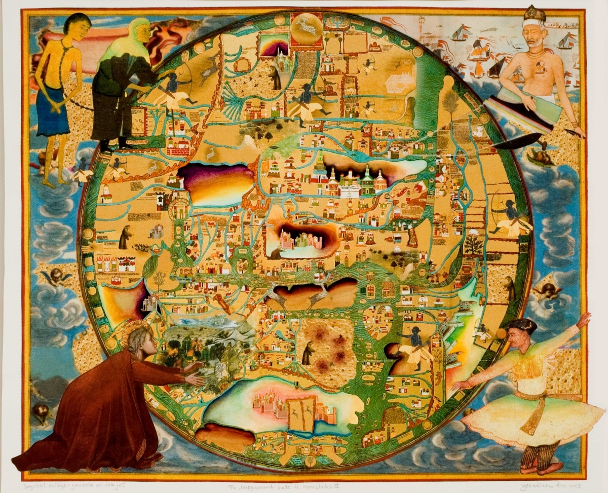 Gulammohammed Sheikh (Indian, born 1937), Mappa mundi, 2003. Gouache on digital inkjet paper, 58.4 × 71.1 cm. Umesh and Sunanda Gaur Collection. © Gulammohammed Sheikh