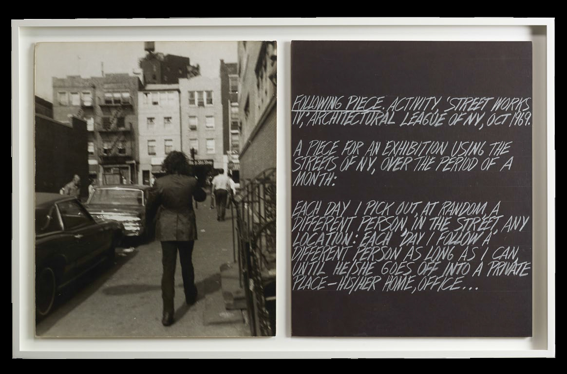 Vito Acconci (American, born 1940), Following (Two Works), 1969. Gelatin silver print and chalk on paper, each: 50.8 x 40.6 cm. Museum purchase, Fowler McCormick, Class of 1921, Fund © Vito Acconci / Artists Rights Society (ARS), New York