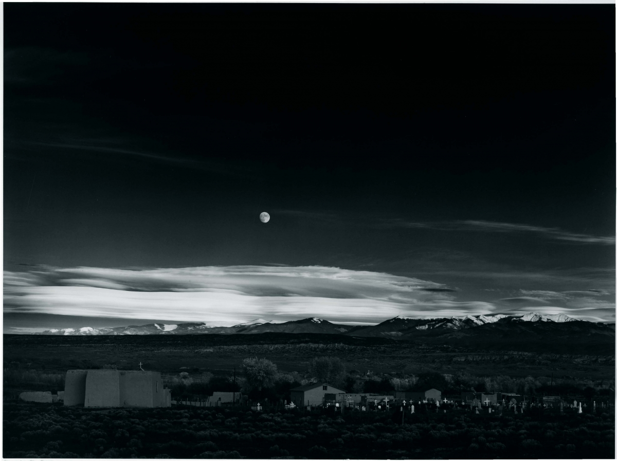 Ansel Adams (American, 1902–1984), Moonrise, Hernandez, New Mexico, 1941, printed 1943. Gelatin silver print, 30.7 x 41.2 cm. Gift of David H. McAlpin, Class of 1920. © The Ansel Adams Publishing Rights Trust