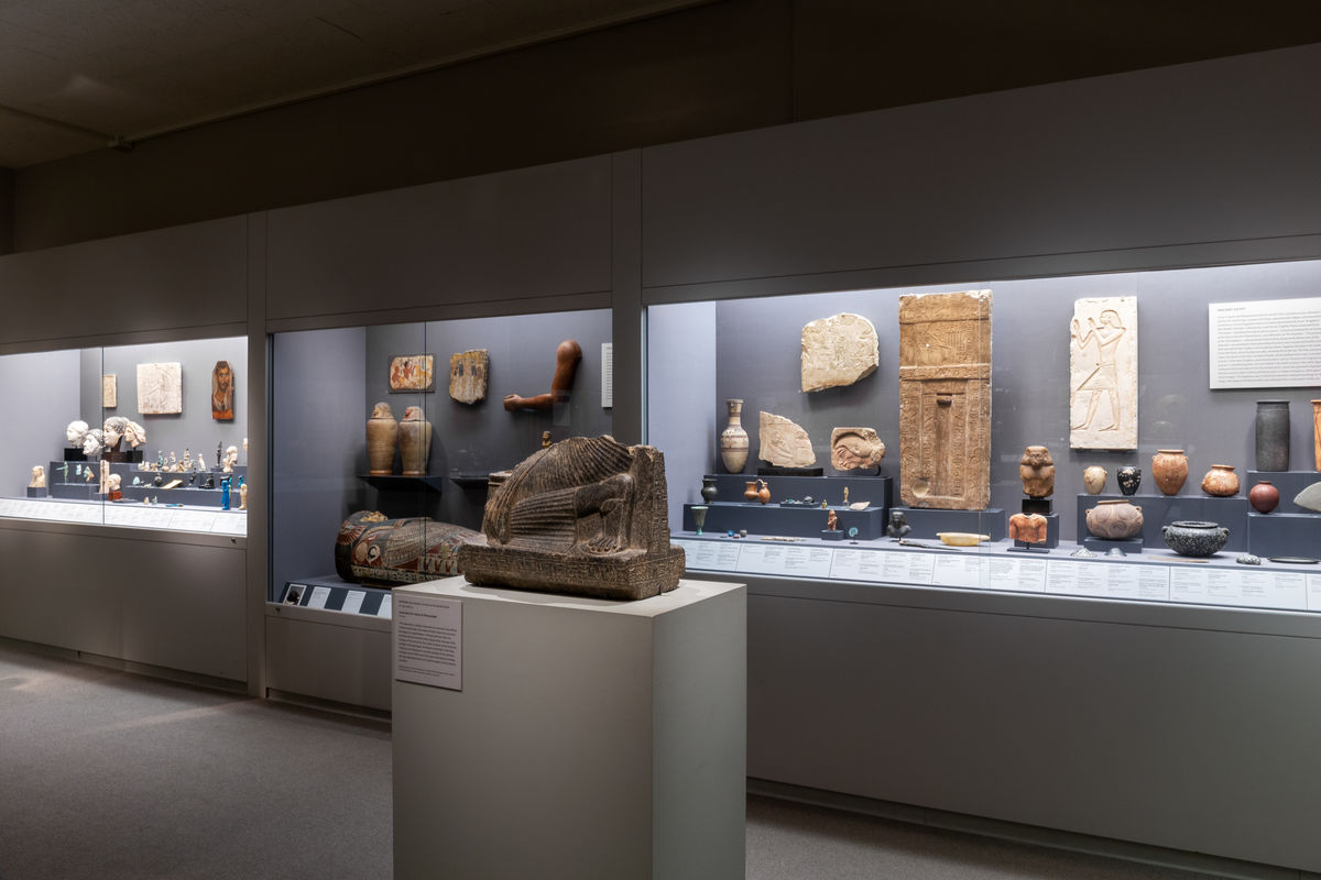 The back wall, in the Art of the Ancient Mediterranean gallery, features Egyptian art, from earliest times to the Roman era
