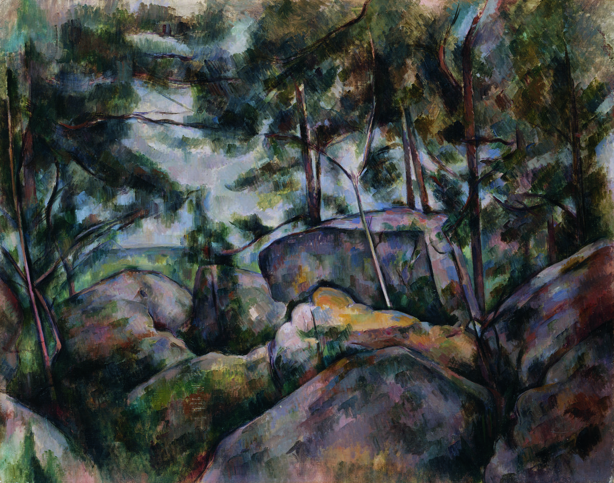 Paul Cézanne, Rocks at Fontainebleau, 1895–1900. Oil on canvas, 73.3 × 92.4 cm. The Metropolitan Museum of Art, New York. H. O. Havemeyer Collection, Bequest of Mrs. H. O. Havemeyer, 1929
