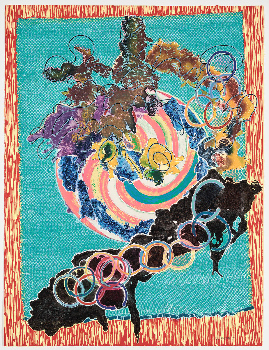 Frank Stella, American, born 1936. Juam, State I, 1997. Hand colored relief, woodcut, etching and aquatint on paper, 198.76 cm x 152.4 cm. Addison Gallery of American Art, Phillips Academy, Andover, MA, U.S.A. Tyler Graphics Ltd. 1974-2001 Collection, given in honor of Frank Stella, 2003.44.273. © 2017 Frank Stella / Artists Rights Society (ARS), New York