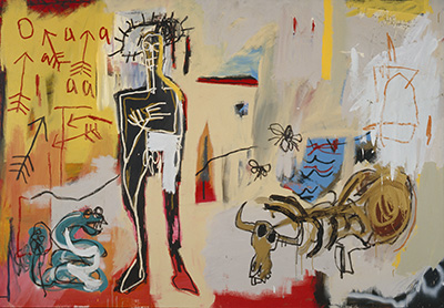 Jean-Michel Basquiat (American, 1960–1988), Poison Oasis, 1981. Acrylic, oil crayon, and paper on canvas, 167.5 x 243.5 cm. Schorr Family Collection. © Artists Rights Society (ARS), New York / ADAGP, Paris / photo: Bruce M. White