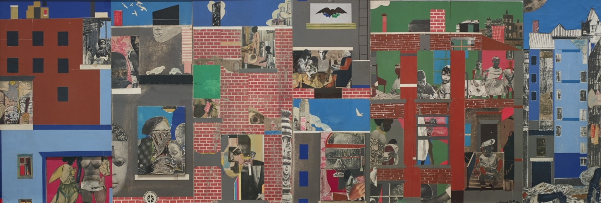 Romare Bearden (American, 1911–1988), The Block II, 1972. Paper collage with foil, paint, ink, graphite, and surface abrasion on 17 fiberboard and plywood panels, 64.8 x 188 cm. Collection of Walter O. and Linda J. Evans. Art © Romare Bearden Foundation / Licensed by VAGA, New York, NY