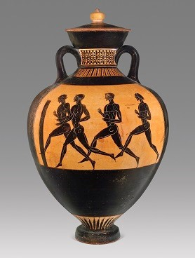 Greek, Attic, attributed to the Berlin Painter, Black- figure Panathenaic prize amphora: A, Athena between columns surmounted by roosters; B, Runners, ca. 480–470 B.C. Ceramic. Collection of Gregory Callimanopulos . Imagen courtesy Gregory Callimanopulos.