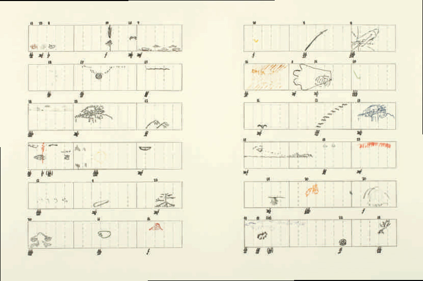 John Cage (American, 1912–1992), Score without Parts(40 Drawings by Thoreau): Twelve Haiku, 1978. Hard-ground etching, soft-ground etching, photo-etching, drypoint, sugarlift aquatint, and engraving on heavyweight Rives BFK buff wove paper, sheet: 56.8 x 75.8 cm. Printed and published by Crown Point Press. Gift of James Kraft, Class of 1957 (x1993-223). © 2014 John Cage Trust