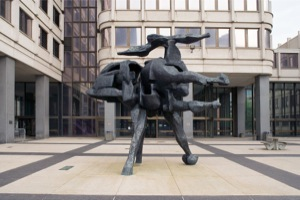 "Dimitri Hadzi Art ""Thermopylae"" 1966, Bronze, Sculpture located at the John F. Kennedy Federal Building."