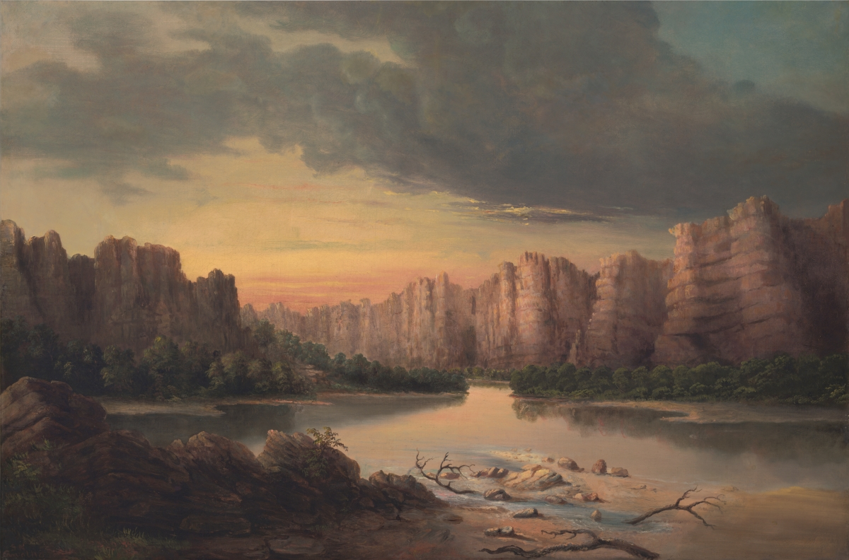 Solomon Nunes Carvalho (American, 1815–1897), Grand River (Colorado River), n.d. Oil on canvas, 51 x 76 cm. The Oakland Museum Kahn Collection