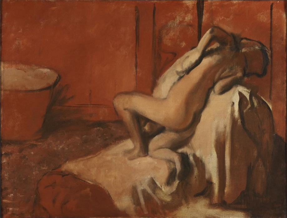 Edgar Degas, French, 1834–1917. <em>After the Bath (Woman Drying Herself)</em>, ca. 1896. Oil on canvas, 89.5 x 116.8 cm. Philadelphia Museum of Art. Purchased with funds from the estate of George D. Widener, 1980 (1980-6-1)