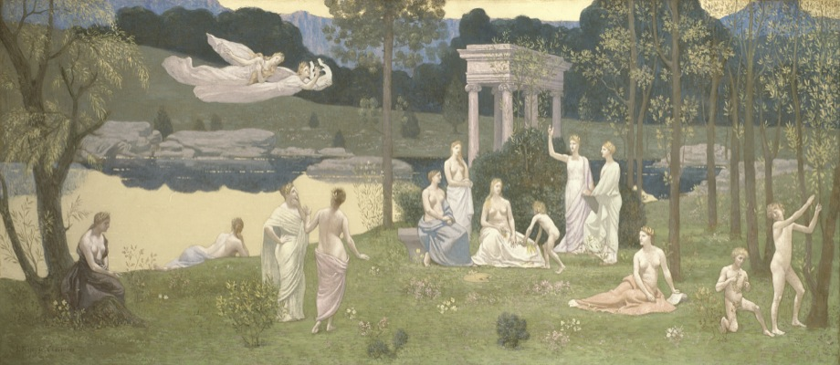 Pierre Cécile Puvis de Vhavannes, French, 1824-1898. The Sacred Grove, Beloved of the Arts and the Muses, 1884-89. Oil on canvas, 93 x 231 cm. Potter Palmer Collection. The Art Institute of Chicago / Image courtesy The Art Institute of Chicago