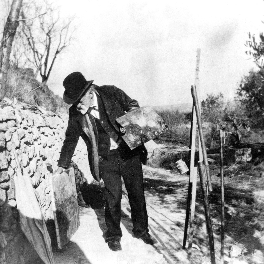 Ker Xavier Roussel, 1867-1944. Paul Cezanne painting in Aix-en-Provence, 1906. Private Collection / The Bridgeman Art Library