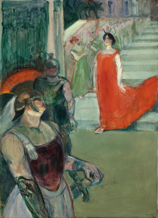 Henri de Toulouse-Lautrec, French 1864–1901. <em>The Opera 'Messalina' at Bordeaux (Messaline descend l'escalier bordé de figurants)</em>, 1900–1901. Oil on canvas, 99.06 x 72.39 cm. Los Angeles County Museum of Art, Mr. and Mrs. George Gard De Sylva Collection (M.46.8.3)