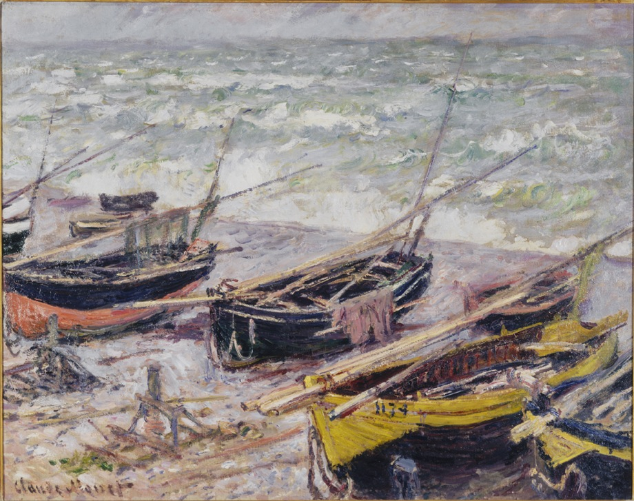 Claude Monet, French, 1840–1926. <em>Fishing Boats at Étretat</em>, 1885. Oil on canvas, 73.7 x 91.4 cm. Seattle Art Museum, Partial and promised gift of an anonymous donor / Image courtesy the Seattle Art Museum.