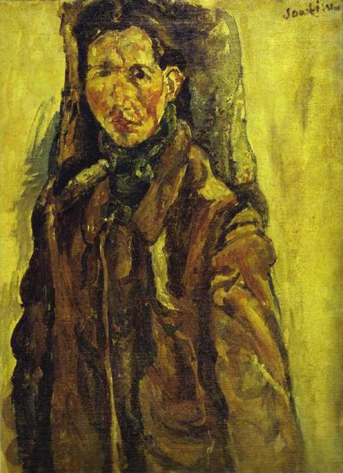 Chaïm Soutine, Russian, active in France, 1893–1943. <em>Self Portrait by Curtain</em>,  ca.1917. Oil on canvas. Private Collection / © 2014 Artists Rights Society (ARS), New York / ADAGP, Paris