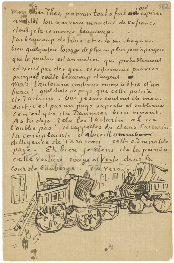 Vincent van Gogh, Dutch, 1853–1890. Letter from Vincent van Gogh to Theo van Gogh with sketch of <em>Tarascon Stagecoach</em>, 1888 Arles. Pen and black ink, 20.7 x 13.5 cm. Van Gogh Museum, Amsterdam (Vincent van Gogh Foundation)