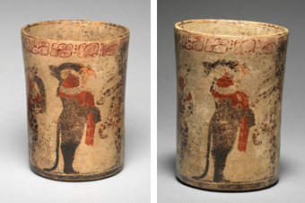 Comparison of previous restoration and now, overall view of once side of Late Classic, Maya attributed to the Master of the Pink Glyphs B Cylinder Vase with Dance Scene, ca. 760 Ceramic with polychrome slip h. 19.3 cm., diam. 14.3 cm. (7 5/8 x 5 5/8 in.) Place made: Motul de San José or vicinity, Maya area, Petén, Guatemala Museum purchase, gift of Mr. and Mrs. James E. Burke, with matching funds from IBM Corporation, Johnson & Johnson, and the Prudential Foundation y1988-22