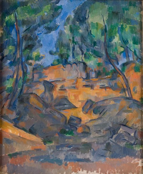 Paul Cézanne, Trees and Rocks, ca. 1900. Oil on canvas. Dixon Gallery and Gardens. Museum Purchase from Cornelia Ritchie and Ritchie Trust