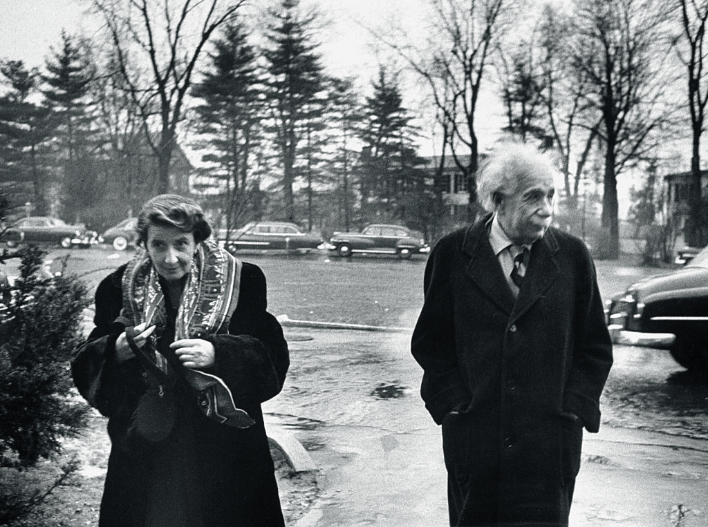 Albert Einstein with Mrs. Sophie Bargmann outside his home at 112 Mercer Street in Princeton, New Jersey, March 14, 1953. Photo by Esther Bubley / The LIFE Images Collection via Getty Images / Getty Images
