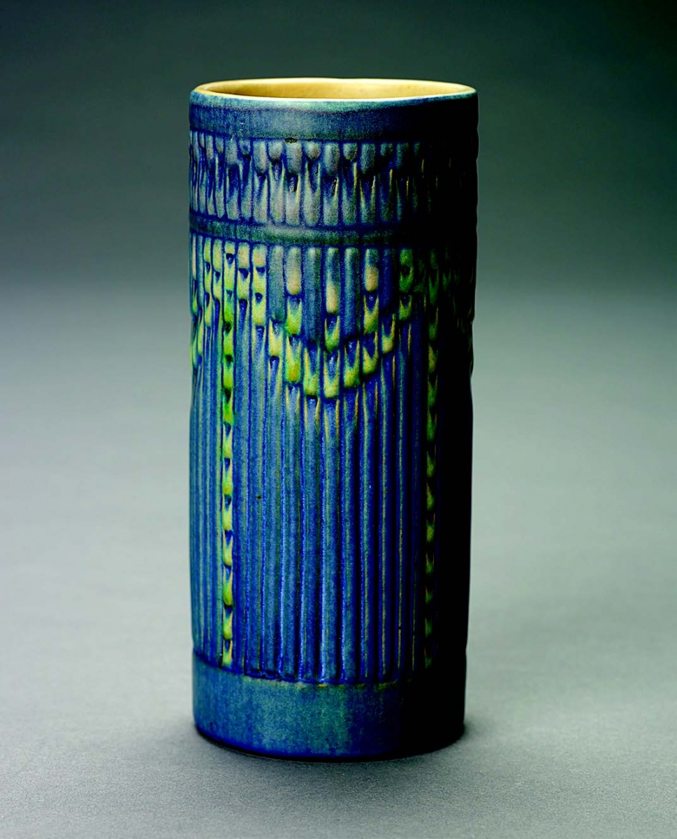 "Anna Frances Simpson (decorator); Joseph Meyer (potter), Vase with the ""Espanol"" Design, ca. 1926. Ceramic, h. 17.5 cm. Louisiana State University Museum of Art; gift of Dr. A. Brooks Cronan Jr. and Diana Cronan"