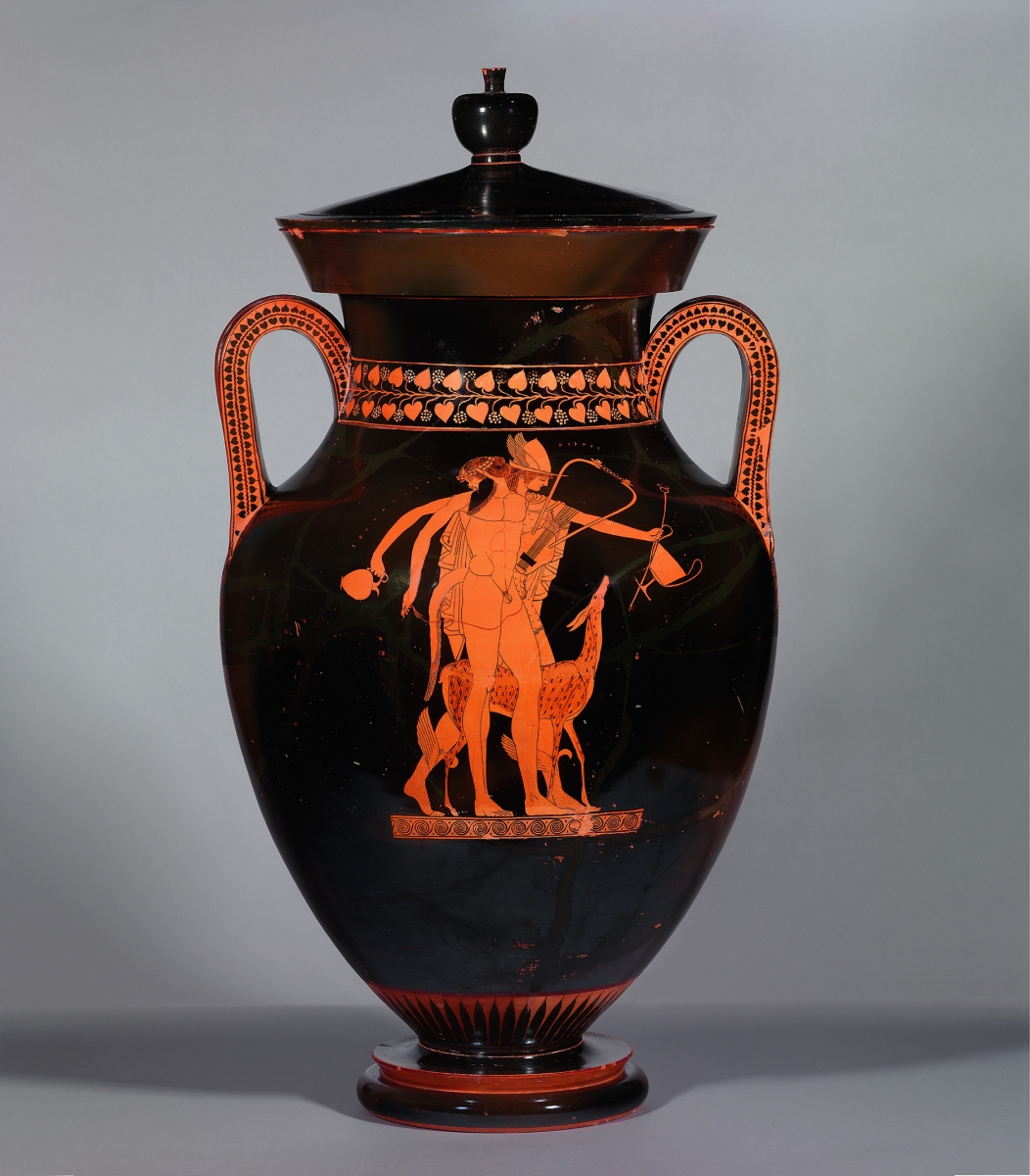 Greek, Attic, ca. 500–490 B.C., attributed to the Berlin Painter. Red-figure amphora of Type A, with satyr and Hermes. Ceramic, h. with lid 81.5 cm. Antikensammlung, Staatliche Museen, Berlin / Preussischer Kulturbesitz