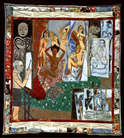 Fig. 2 / Faith Ringgold (American, born 1930), Picasso's Studio, 1991, Acrylic on canvas with pieced fabric border, 185 x 173 cm