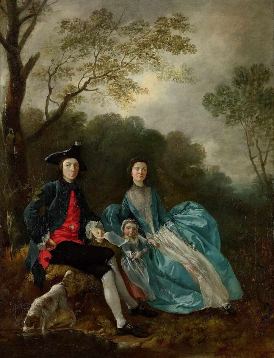 Thomas Gainsborough, English, 1727–1788, The Artist with his Wife Margaret and Eldest Daughter Mary, 1748?. Oil on canvas. The National Gallery, London. Acquired under the acceptance-in-lieu scheme at the wish of Sybil, Marchioness of Cholmondeley, in memory of her brother, Sir Philip Sassoon, 1994. © The National Gallery, London.