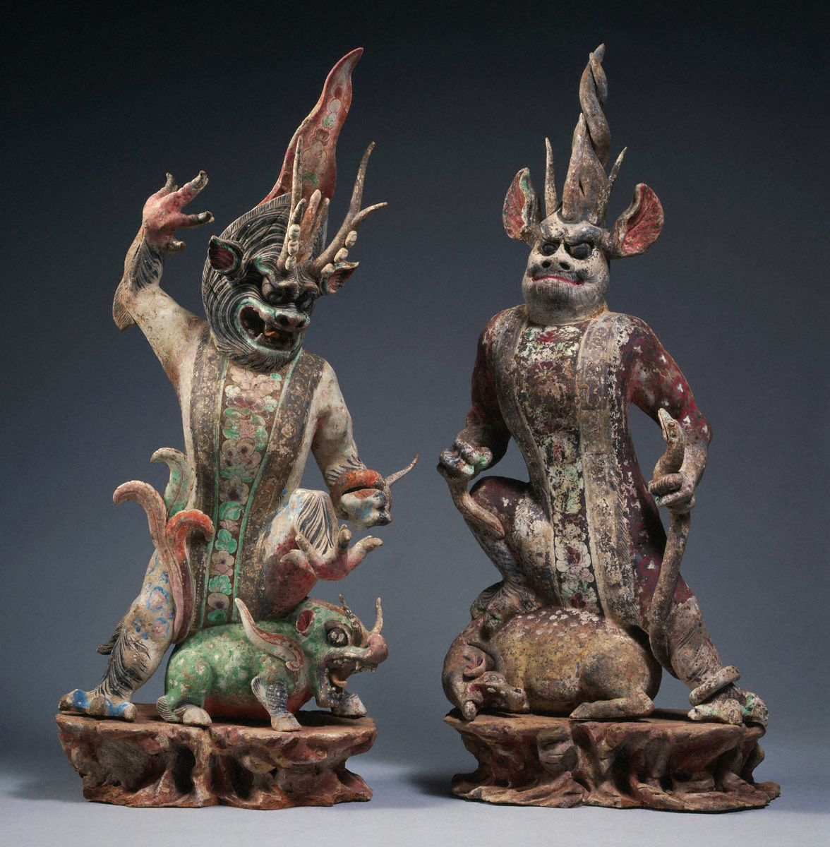 Chinese, Tang dynasty (618–907), Pair of painted tomb guardians, ca. mid-8th century. Earthenware with silver, gold, and painted decoration. Museum purchase, Fowler McCormick, Class of 1921, Fund (2001-215.1–.2)