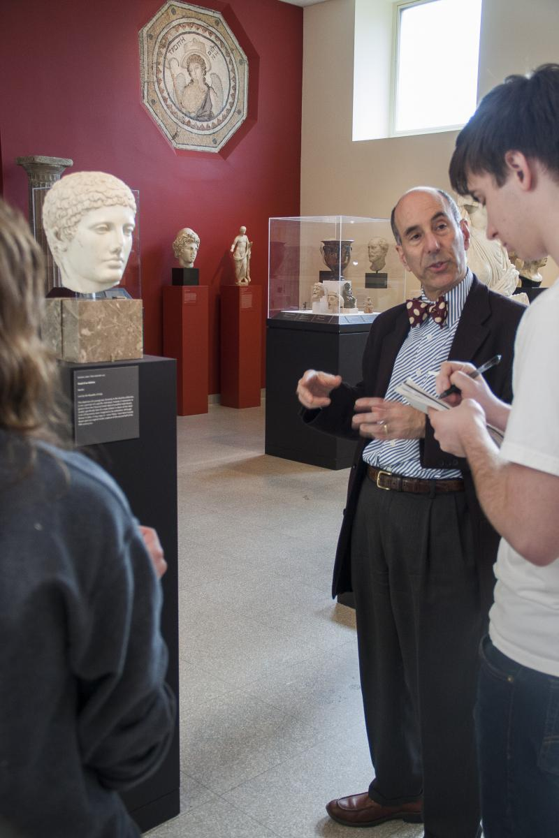 Professor Koortbojian with students in the Roman galleries, spring 2013