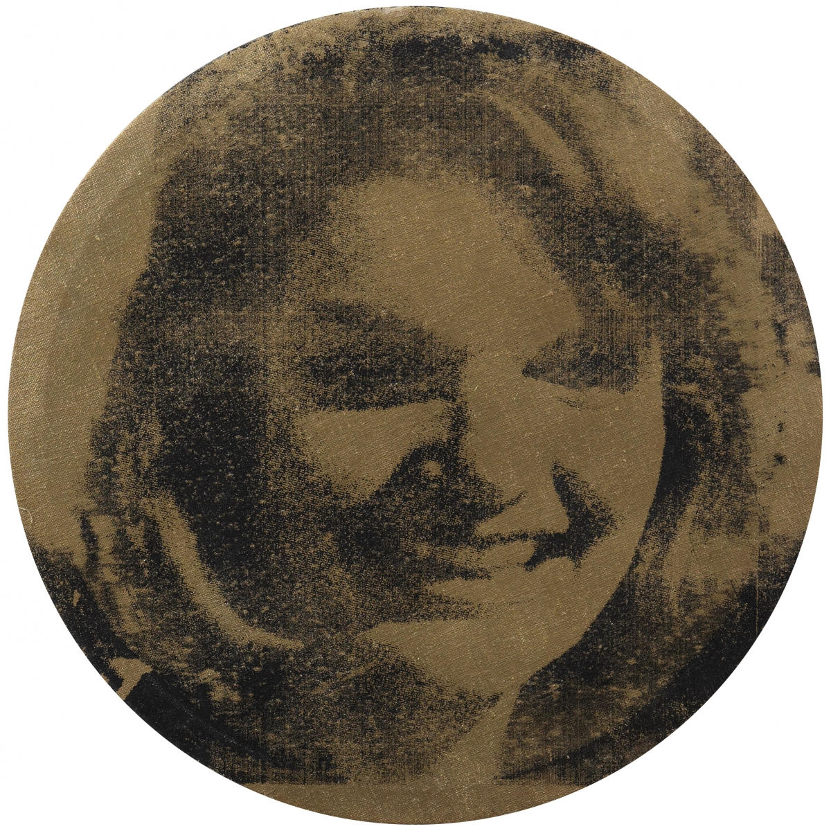 Andy Warhol (American, 1928–1987), Round Jackie, 1964. Spraypaint and silkscreen ink on linen, diam. 45.3 cm. Schorr Family Collection / Round Jackie, 1964. Spraypaint and silkscreen ink on linen, diam. 45.3 cm. Schorr Family Collection. c Andy Warhol Foundation for the Visual Arts / Artists Rights Society (ARS), New York / photo: Bruce M. White