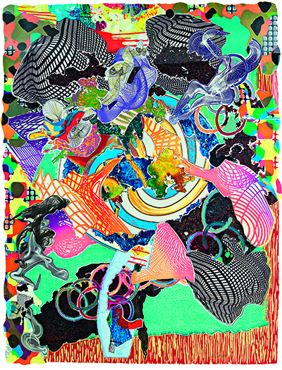 Frank Stella (American, born 1936), Juam, 1997, from the series Imaginary Places II. Relief, etching, aquatint, lithograph, screenprint, woodcut, and engraving on two overlapping sheets of shaped, hand-dyed handmade paper cut to image, 201.9 × 156.2 cm (overall, irregular). Collection of Preston H. Haskell, Class of 1960. © 2018 Frank Stella / Artists Rights Society (ARS), New York