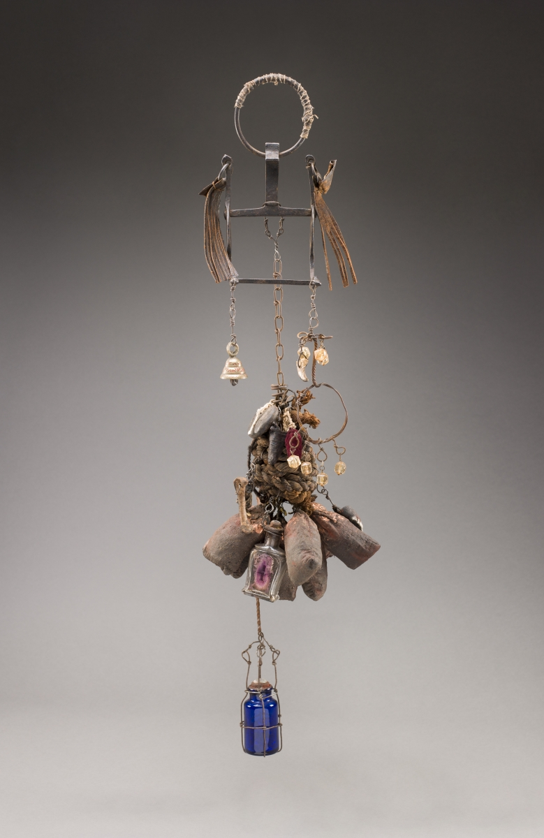 Renée Stout (American, born 1958), Self-Portrait no. 2 (Self-Portrait as Inkisi), 2008. Metal, fabric, glass, and organic materials, 83.8 x 17.8 x 17.8 cm. Collection of the artist. © Renée Stout / photo by Randy A. Batista