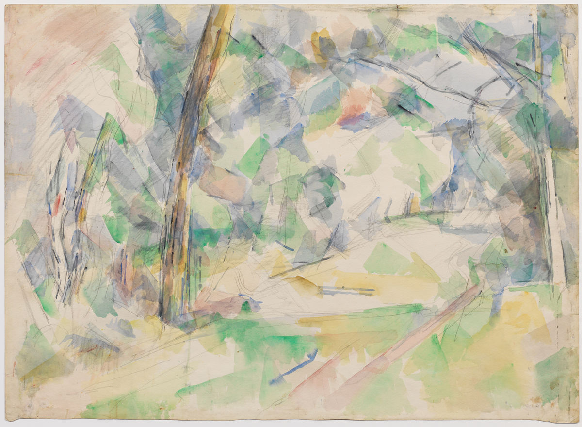 Paul Cézanne (French, 1839–1906), Forest Path, ca. 1904–6. Watercolor and graphite on off-white paper. The Henry and Rose Pearlman Foundation, on long-term loan to the Princeton University Art Museum
