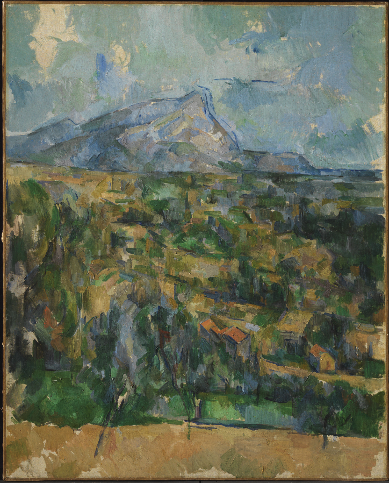 Paul Cézanne, French, 1839–1906 Mont Sainte-Victoire (La Montagne Sainte-Victoire), ca. 1904–06. Oil on canvas. 83.8 x 65.1 cm. (33 x 25 5/8 in.) frame: 102.5 x 86 x 6.0 cm (40 3/8 x 33 7/8 x 2 3/8 in.) The Henry and Rose Pearlman Foundation, on long-term loan to the Princeton University Art Museum