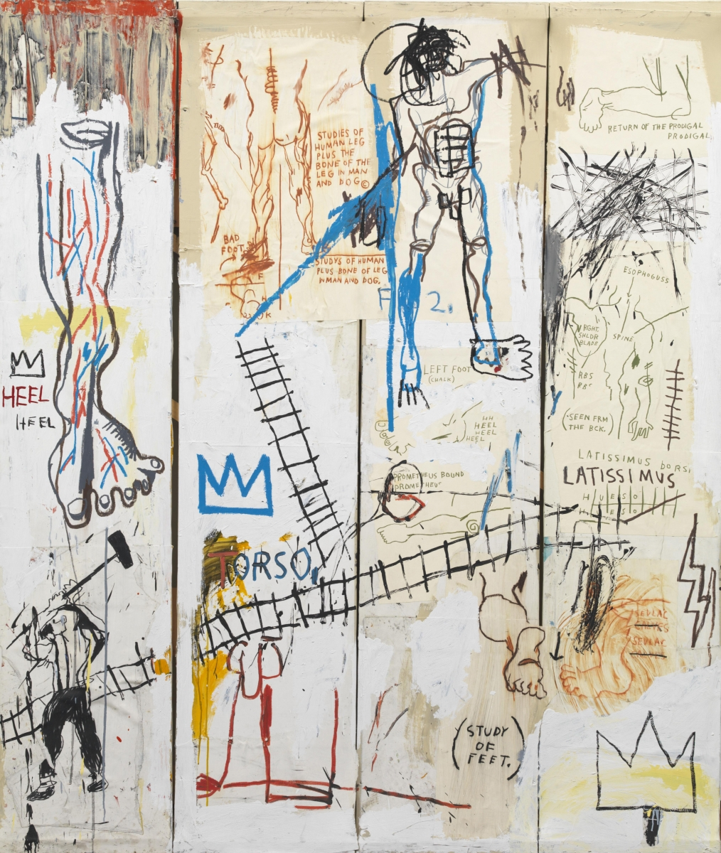 Jean-Michel Basquiat (American, 1960–1982), Leonardo da Vinci's Greatest Hits, 1982. Acrylic, colored crayon, oil paintstick, and pencil on paper, 213.2 x 183.4 cm. Schorr Family Collection. c Artists Rights Society (ARS), New York / ADAGP, Paris / photo: Bruce M. White