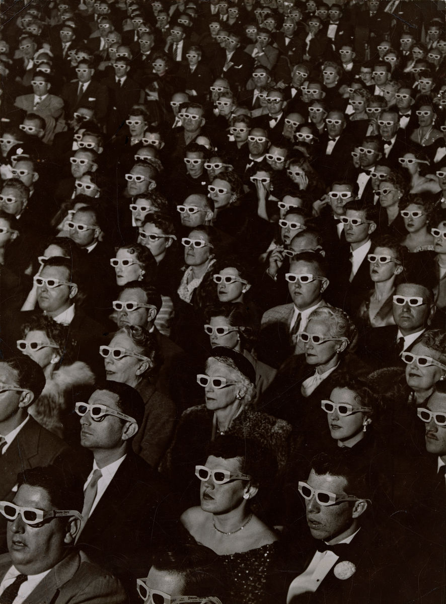 J. R. Eyerman, American, 1906–1985, Audience watches movie wearing 3-D spectacles, 1952. Gelatin silver print. Museum of Fine Arts, Boston, The Howard Greenberg Collection—Museum purchase with funds donated by the Phillip Leonian and Edith Rosenbaum Leonian Charitable Trust. © 1952 The Picture Collection Inc. All rights reserved.