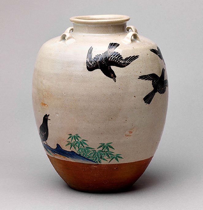 Nonomura Ninsei (active about 1646–77), Japanese, Edo period, 1615–1868, Jar with design of mynah birds, 1670s. Stoneware with colored and silver enamels over white glaze, h. 30.5 cm. Asia Society and Museum, New York