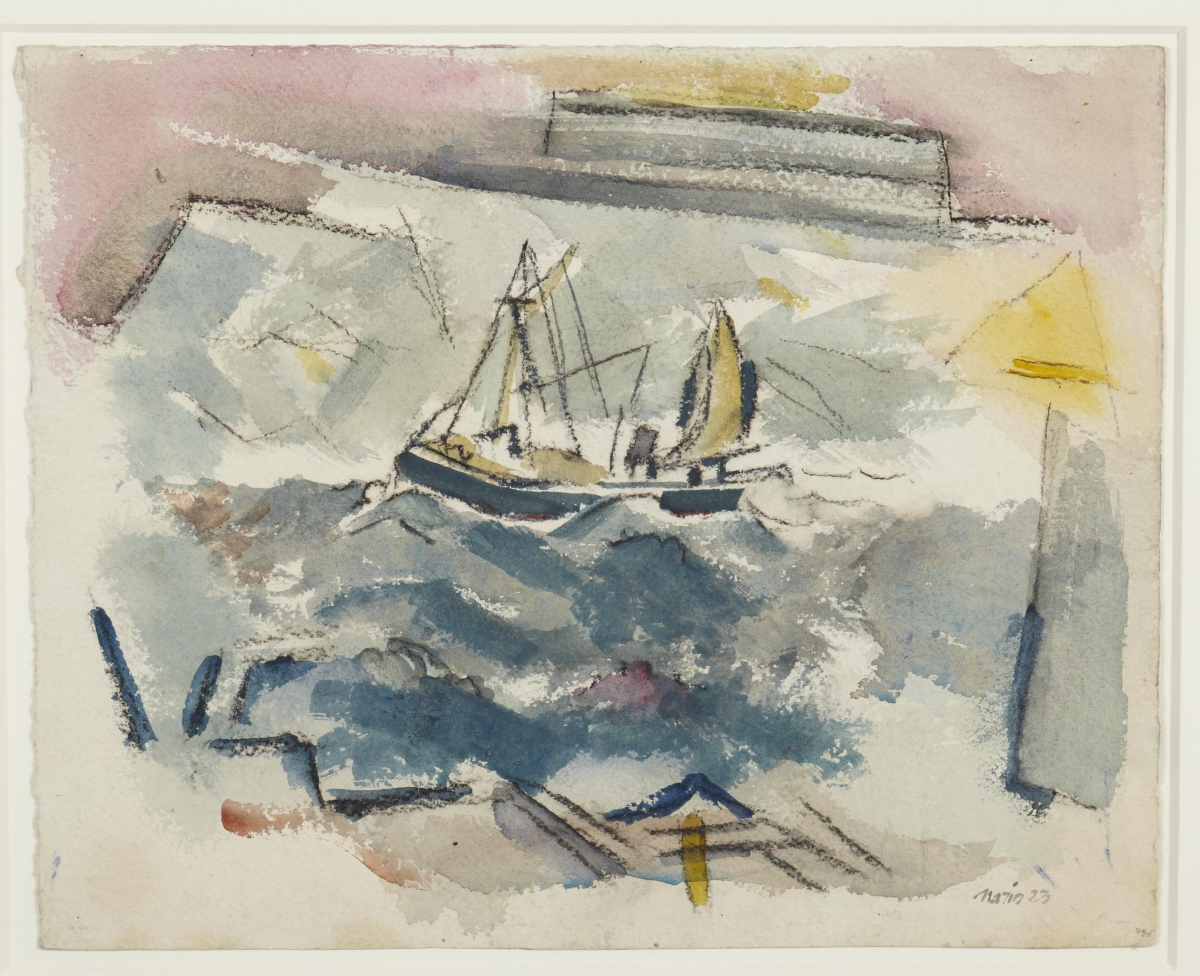 John Marin (American, 1870–1953), Lobster Smack Passing Through, 1923. Watercolor and black chalk with traces of blue pastel on cream wove paper, 34 x 42.5 cm. Gift of Frank Jewett Mather Jr. c Estate of John Marin / Artists Rights Society (ARS), New York