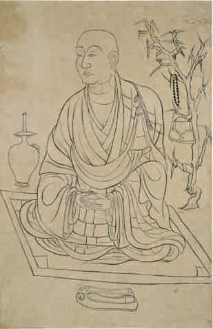 Chinese, Tang Dynasty, 618–907, Portrait of a Monk, late 9th–early 10th century, recovered from the Library Cave (Cave 17) at Dunhuang. Ink on paper, 46 x 30 cm. Collection of the British Museum. © The Trustees of the British Museum