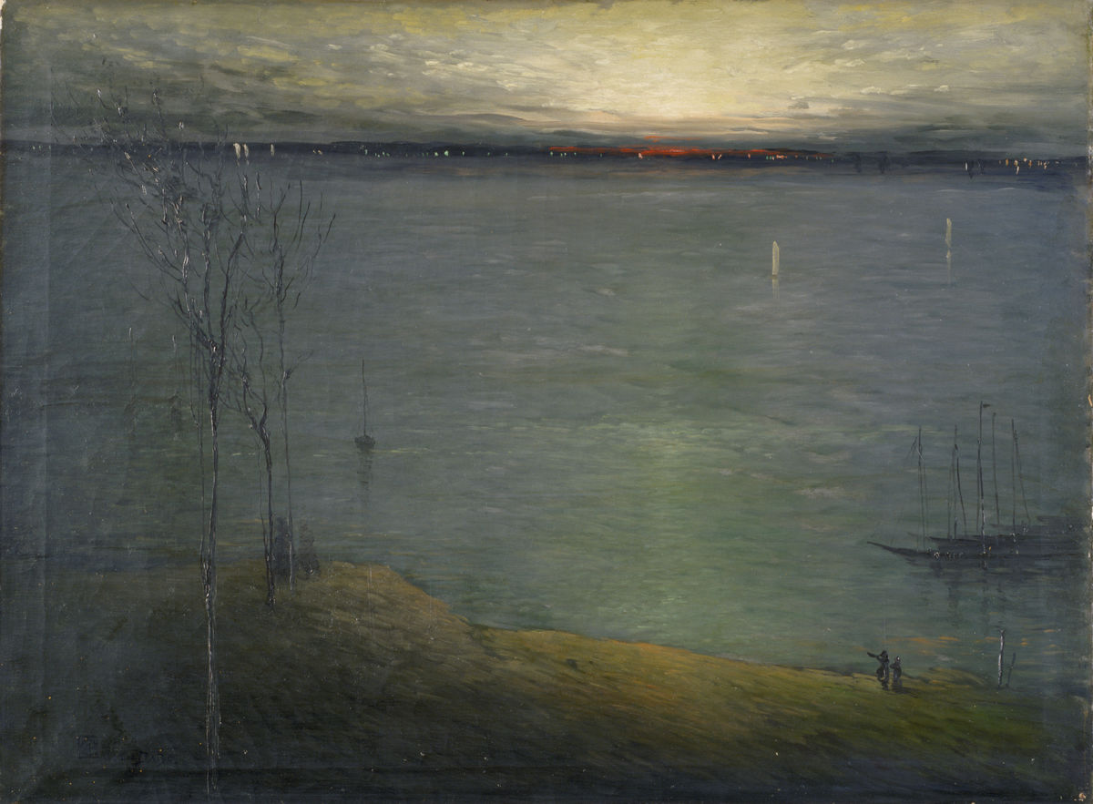 Léon Dabo (American, born France, 1868–1960), Rondout, New York, ca. 1907. Oil on canvas, 68.6 x 91.4 cm. Indianapolis Museum of Art, Gift of S. O. Buckner. © Estate of Léon Dabo